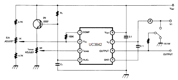 uc3842 open loop test circuit and datasheet