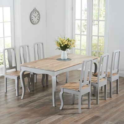 grey painted chairs white wicker for sale seville distressed dining table with 6 5525