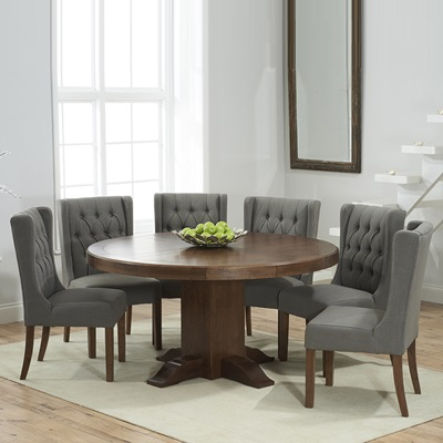 round kitchen table for 6 alder cabinets trina dark solid oak dining with sophia grey chairs