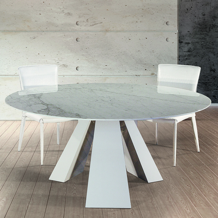 Barcelona Cortina White Marble Round Dining Table  Robson