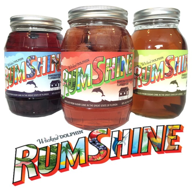 An homage to the pioneers that built Florida's sugar industry from the wilds of the Everglades, Wicked Dolphin's new RumShine flavored expressions are infused with local apple, strawberry and blueberry flavors.