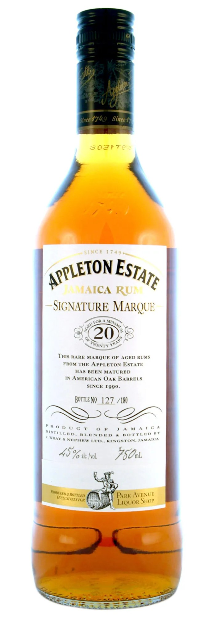 Appleton Estate 20 year old Signature Marque limited edition for Park Avenue Liquor Shop. Barreled in 1990, bottled in 2010. Only 180 750ml bottles. 45% abv.