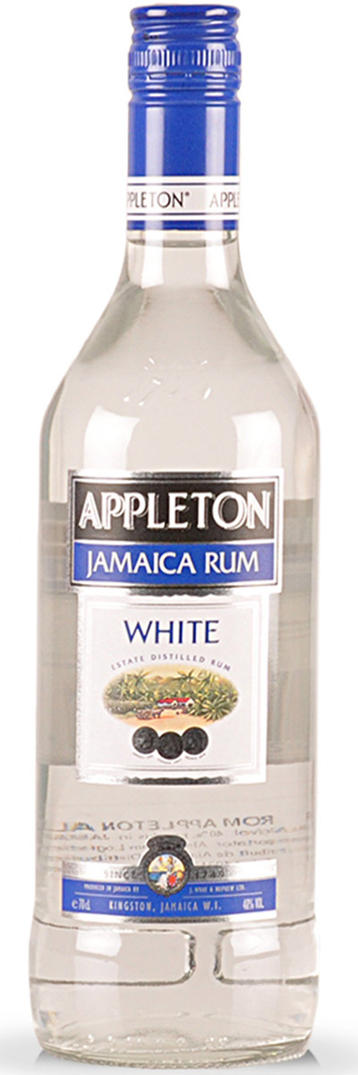 Appleton White rum from Jamaica combines some medium pot still rum with lighter column still rums, aged and filtered to be perfectly clear. The blend offers delightful notes of cane and butter, honey on bananas, light toffee, a hint of vanilla and a bit of sweet molasses.