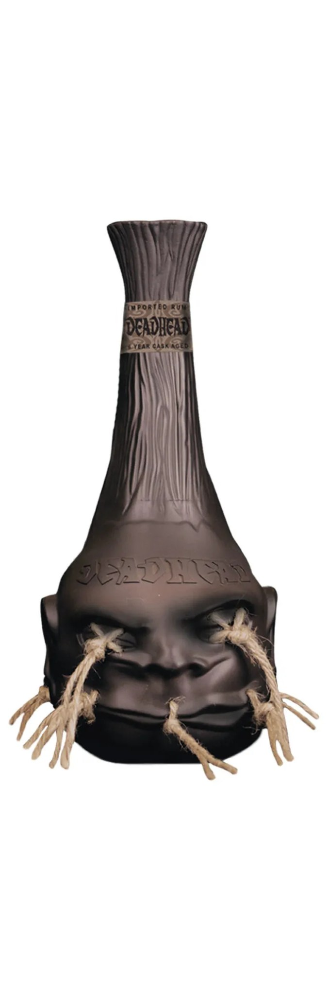 The iconic shrunken head bottle of Deadhead rum contains a 6 year old aged rum produced at the Bonampak distillery in Mexico.