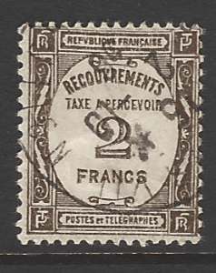 France. SG D461, the 1931 2f bistre-brown Postage Due, fine used