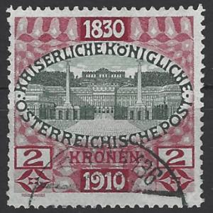 Austria SG 237, the 1910 80th Birthday of Francis Joseph, the 2k value, fine used.