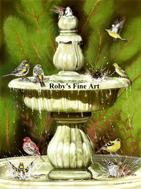 Pastel Backyard Birds Painting by Roby Baer