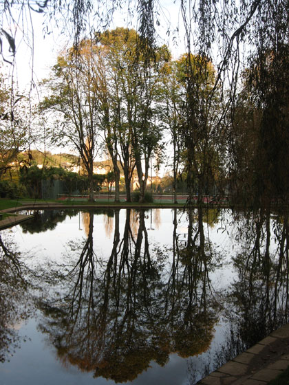 The tree-lined model boat lake in Bicclescombe Park