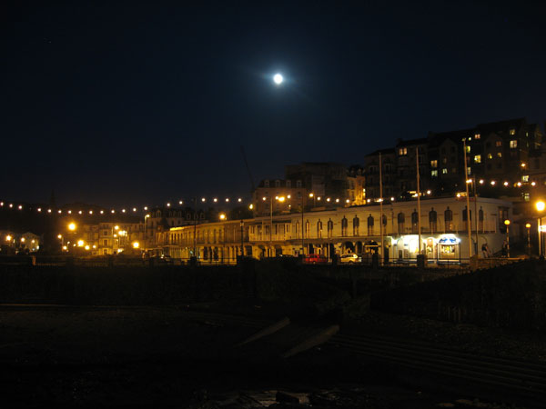 The promenade at Ilfracombe, Devon in the moonlight