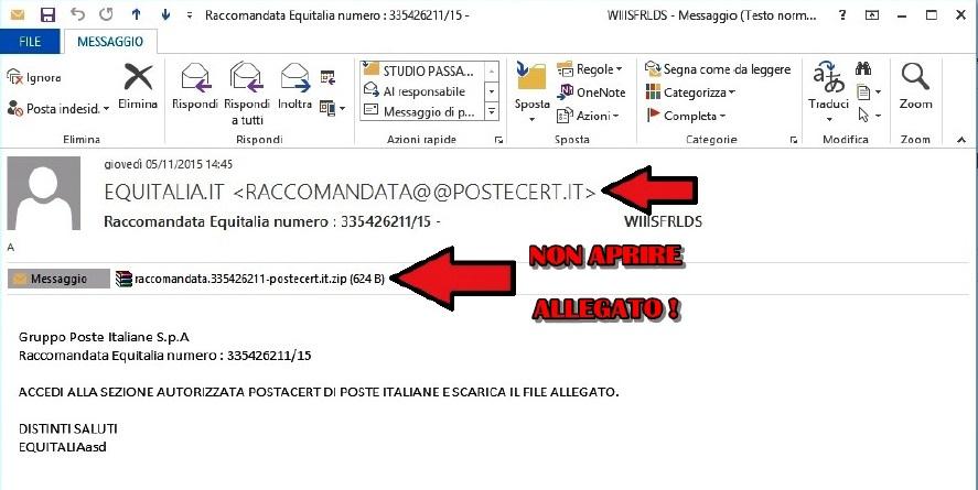 Alert Avviso Equitalia , gli hacker ci provano con le cartelle esattoriali 107