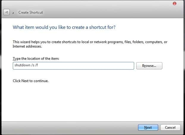 Run a Command Prompt command from Desktop Shortcut enter command