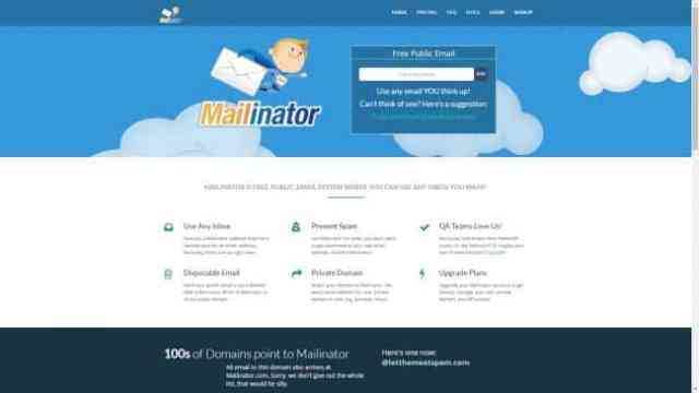 Mailinator Website Screenshot