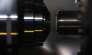 a nanodiamond levitating between two lasers