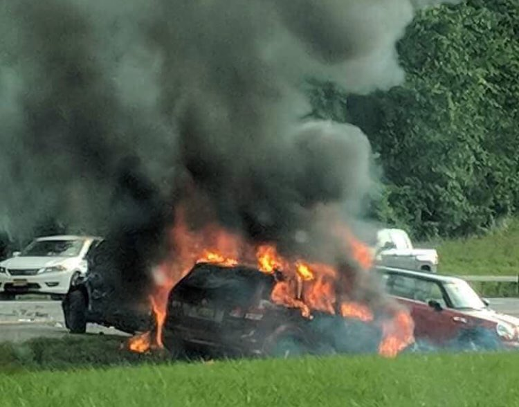 Fiery crash slows Thruway traffic