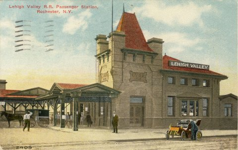 Lehigh Valley Railroad Station (looking from Court Street). This is now home of Dinosaur Barbque.
