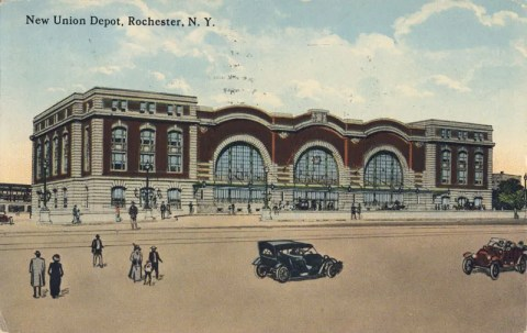Rochester's third NY Central Station was designed by Claude Bragdon and opened in 1914 on the site of the current Amtrak Station. Presidents Woodrow Wilson, Warren G. Harding, Calvin Coolidge, Franklin D. Rooselvelt, Harry Truman, and Dwight D. Eisenhower were among those who used the station. Many spoke to huge crowds from a dais erected at the intersection of North Clinton and Central Avenues.