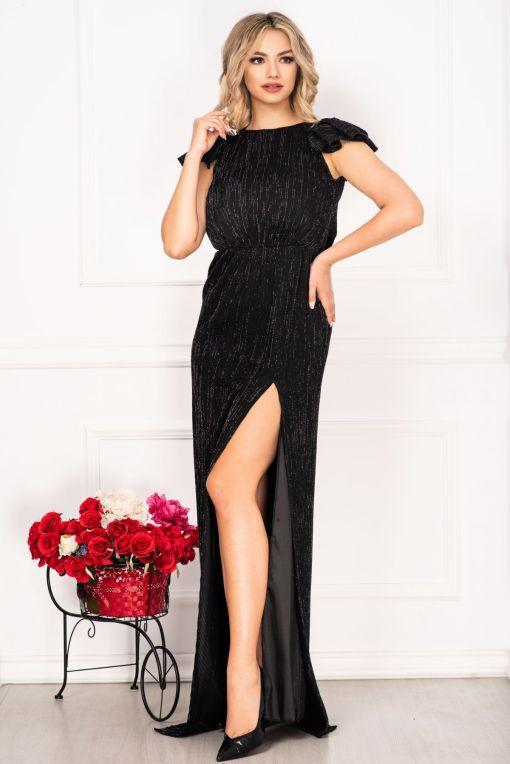 Rochie lunga de seara neagra Moze din crepe cu fir irizant