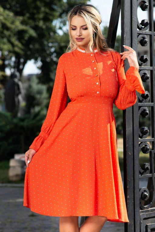 Rochie portocalie cu buline Moze