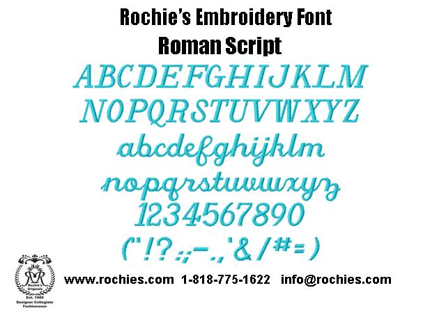 Rochies Com Embroidery Font Roman Script