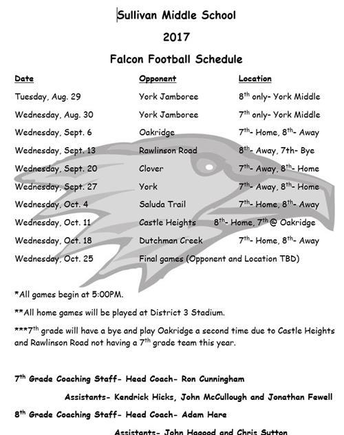 Football / 8th Grade Schedule