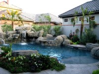 Artificial rock grotto and hot tub