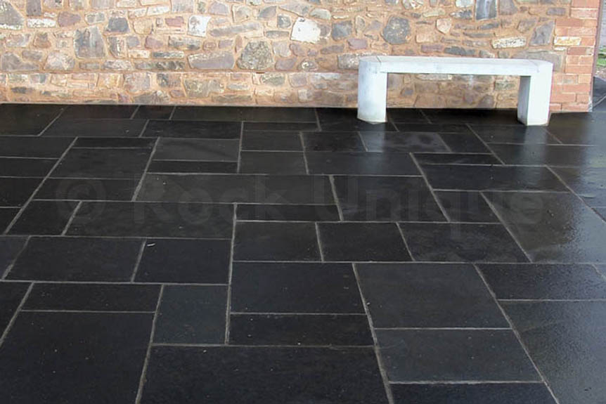 Black Limestone Calibrated Sawn Edges Paving Slabs
