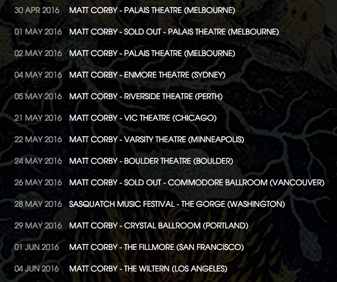 Matt Corby tour dates