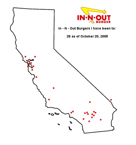 A Map of the In N Outs I've been to