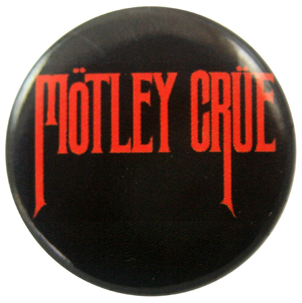 Motley Crue Name Red On Black Button Badge