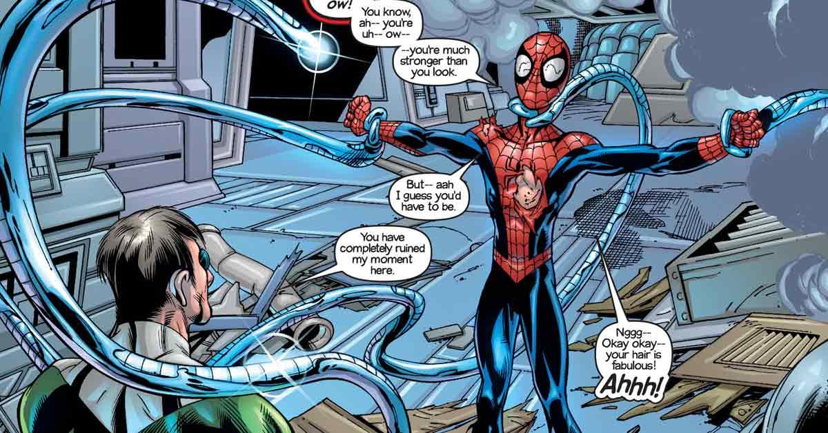 Homem-Aranha faz piada em combate com Doutor Octopus
