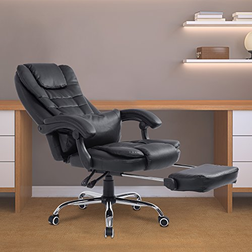 Acepro Reclining Chair Executive Racing Style Gaming Office Computer  Versatile Desk Chair High Back With Footrest PU Leather 360 Degree Swivel  Chair, Black