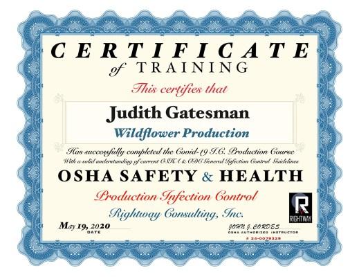 Osha Covid-19 certificate Judith