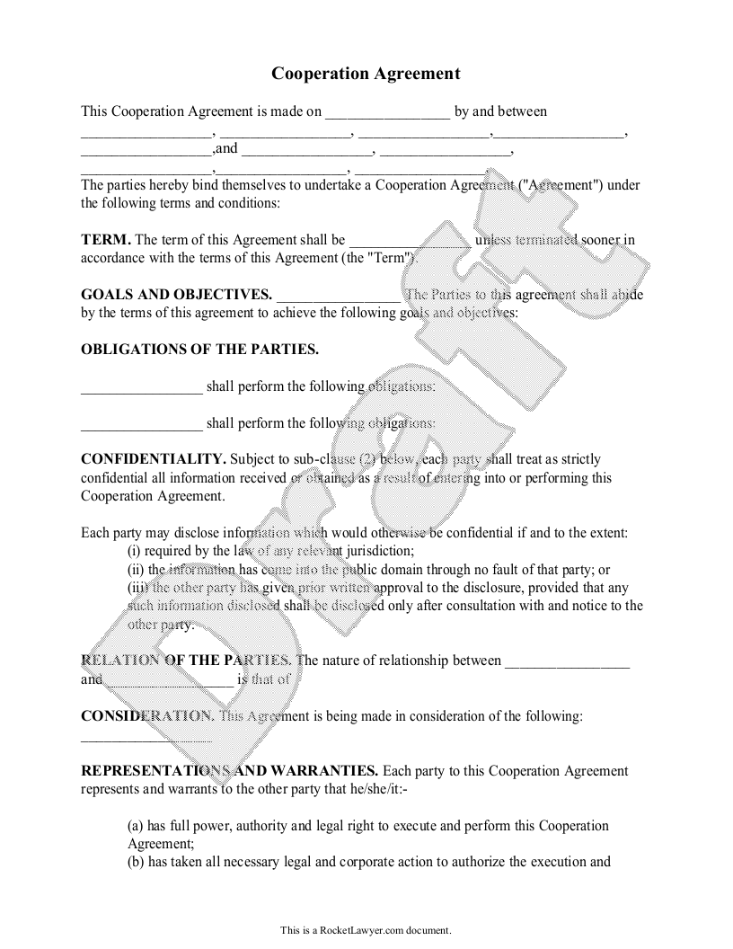Download this free strategic alliance agreement template as a word document to outline a legal partnership between two companies' mutual benefit. Free Cooperation Agreement Free To Print Save Download