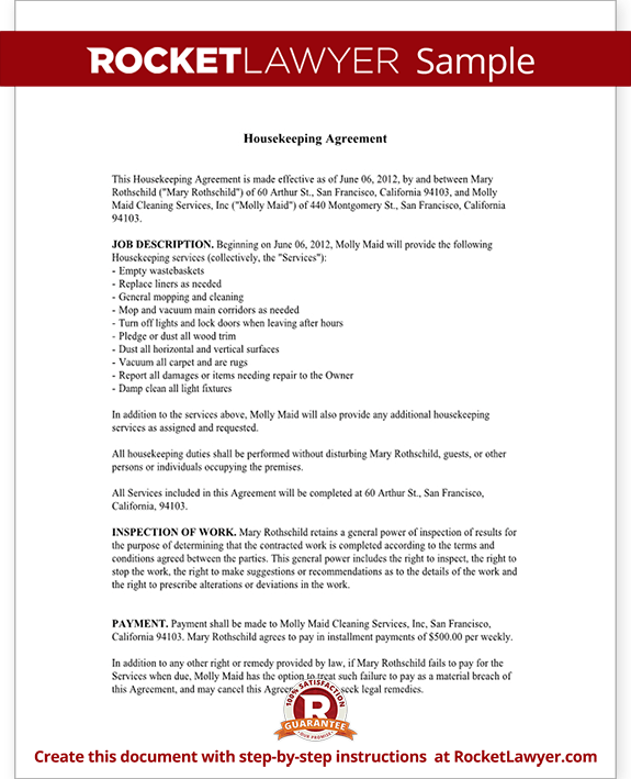 housekeeper contract sample