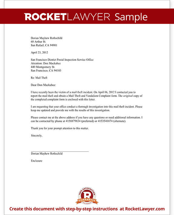 Letter To Report Mail Theft Template With Sample