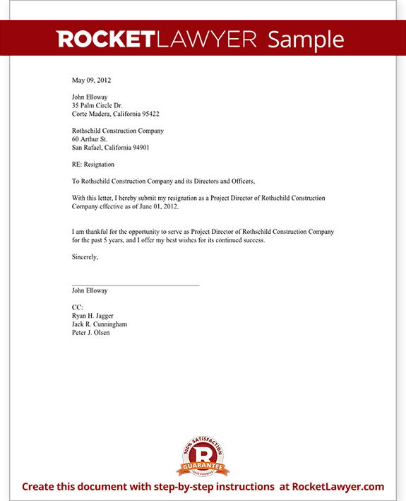 Resignation Letter Of Director | Cover Letter Examples For ...