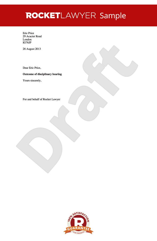 sample disciplinary letter