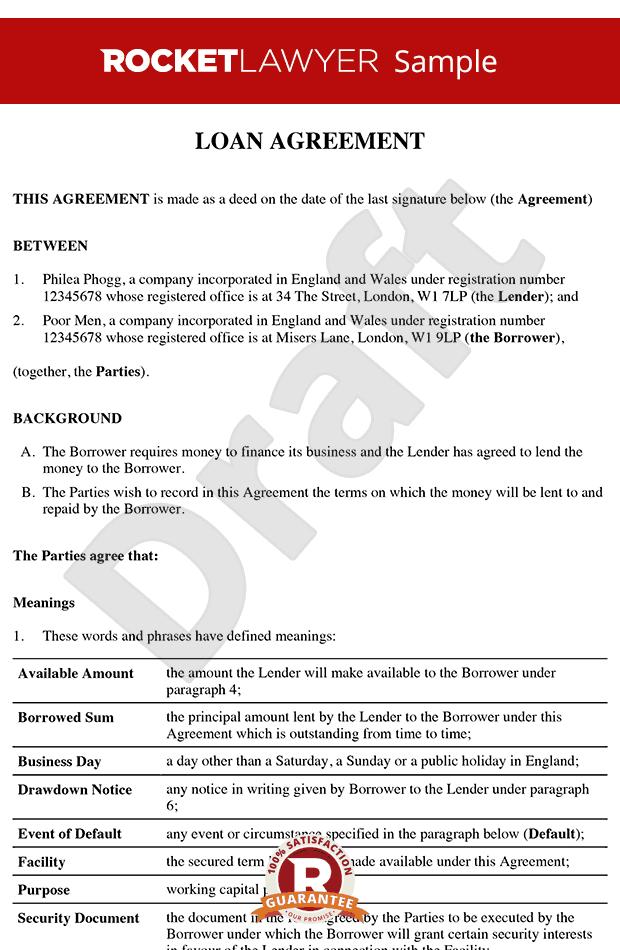Loan Agreement Loan Contract Loan Agreement Template