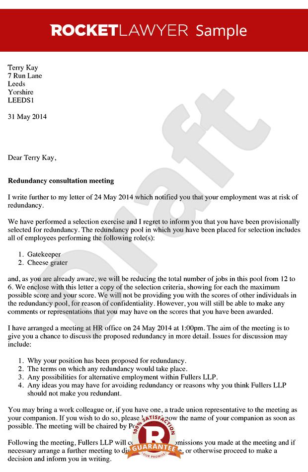 Redundancy Consultation Letter Arrange A Redundancy