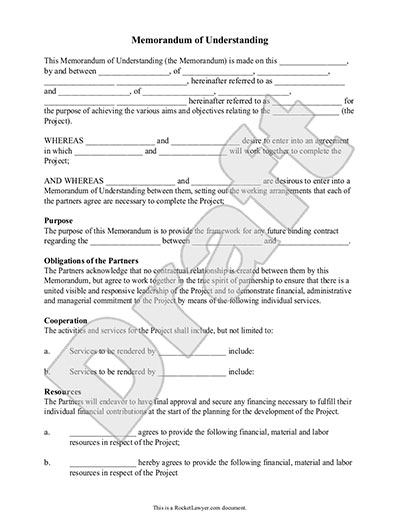 Memorandum Of Understanding Form MoU Template With Sample