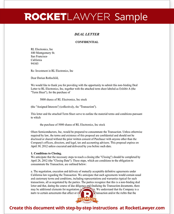 Business Deal Letter Template With Sample