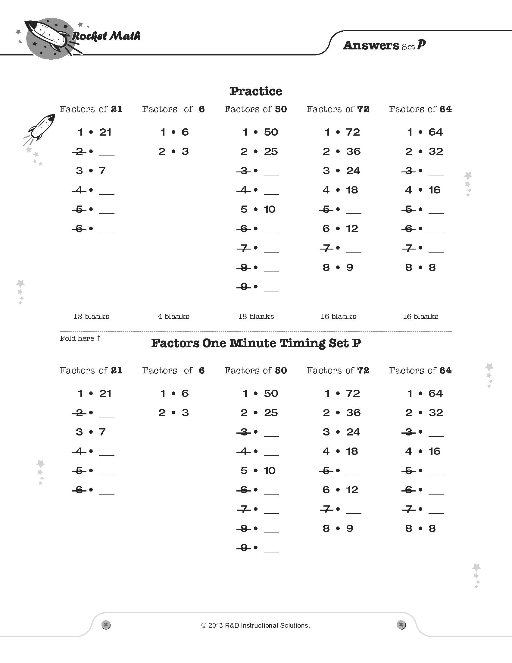Rocket Math Factors