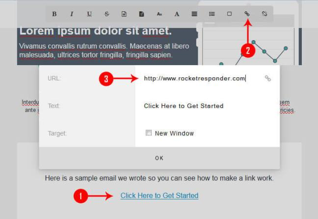 How to make text clickable in RocketResponder