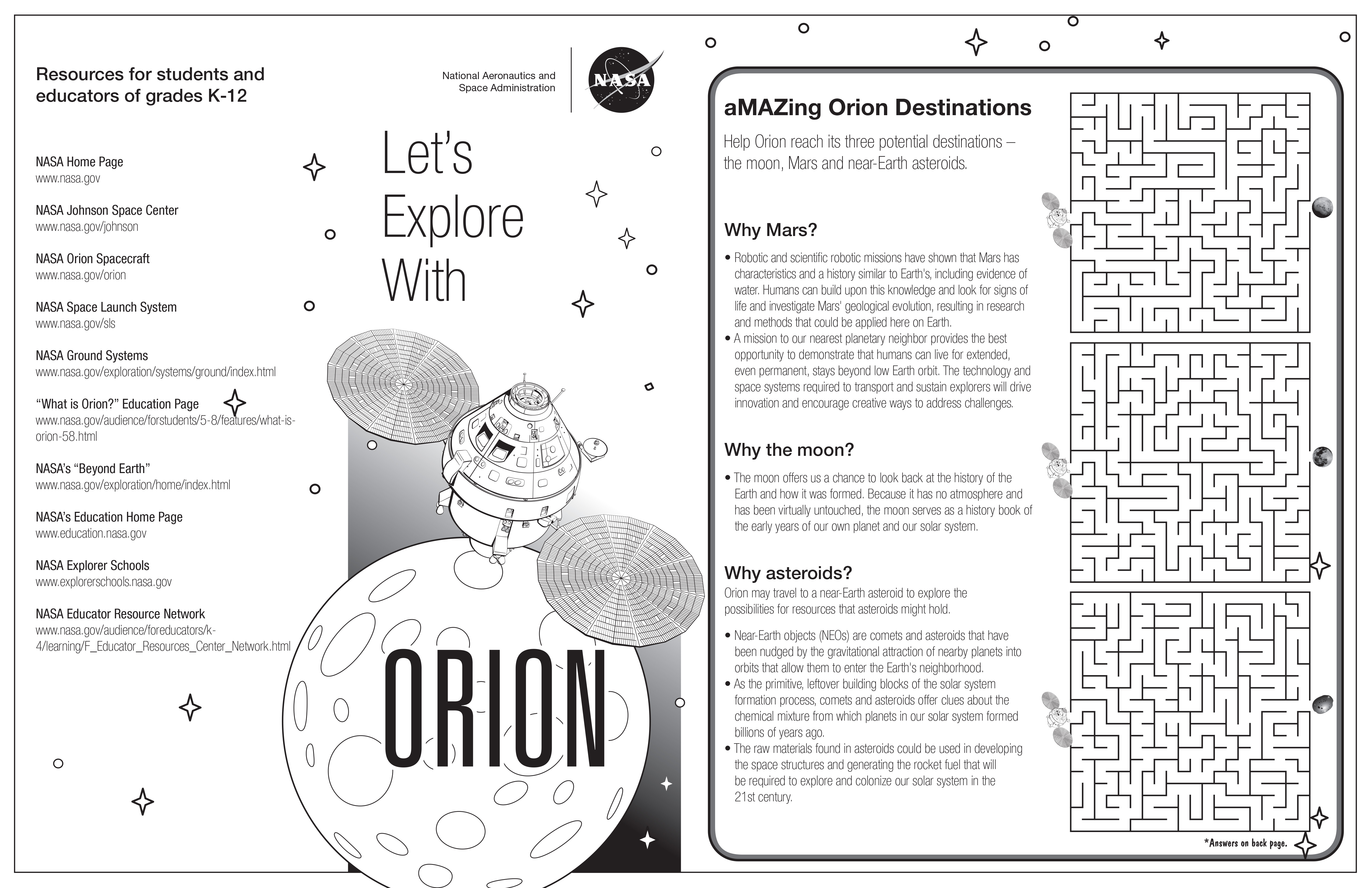 Let S Explore With Orion Activity Pages