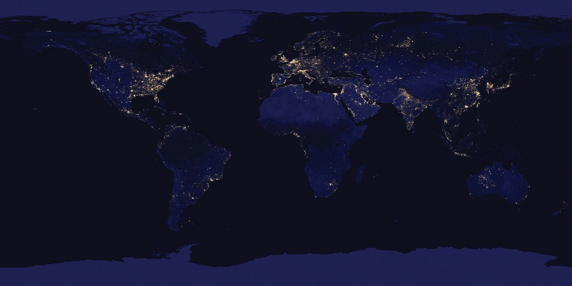 Composite map of the world assembled from data acquired by the Suomi NPP satellite in April and October 2012. Image: NASA Earth Observatory/NOAA NGDC