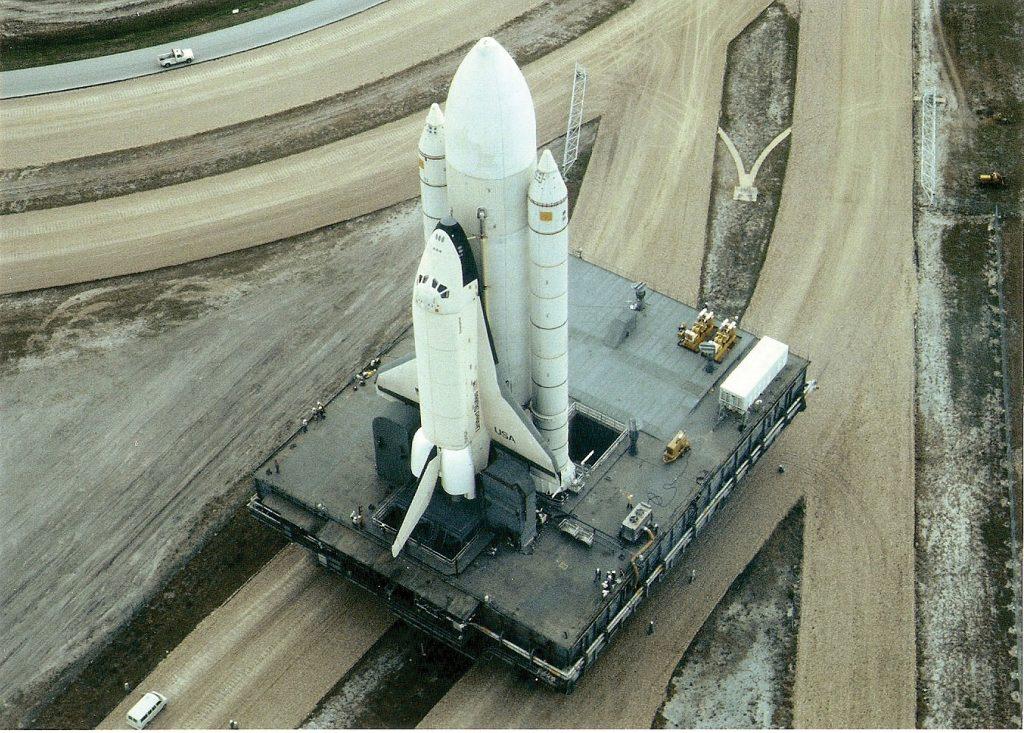 Enterprise and MLP as seen from atop VAB. Credit: Julian Leek