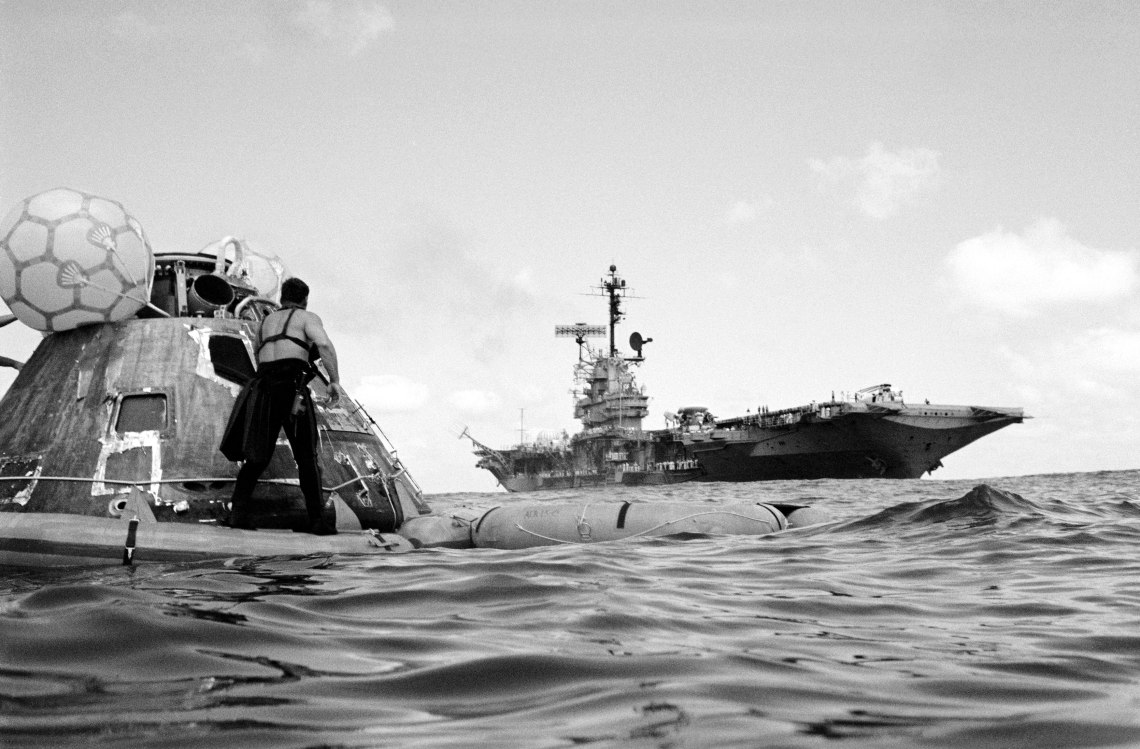 Recovery team awaits pickup of the Apollo 17 command module after splashdown on December 19, 1972. Credit: NASA