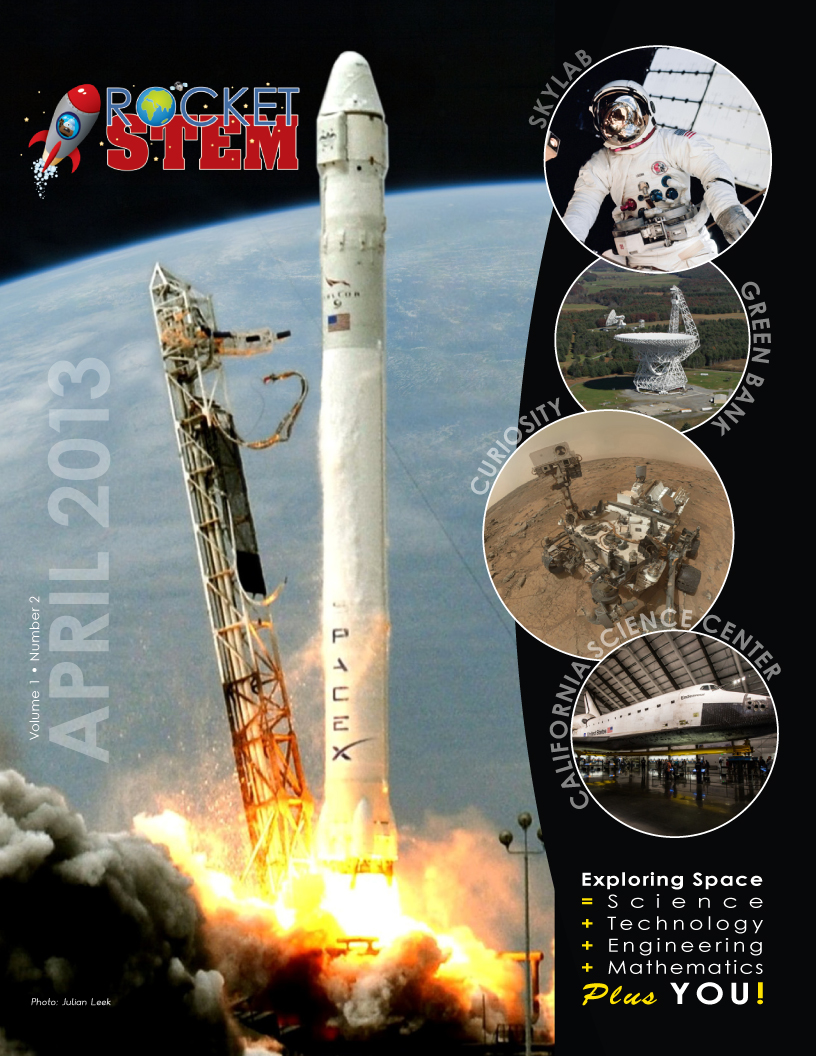 Front cover of the April 2013 issue of RocketSTEM magazine, a free digital publication.