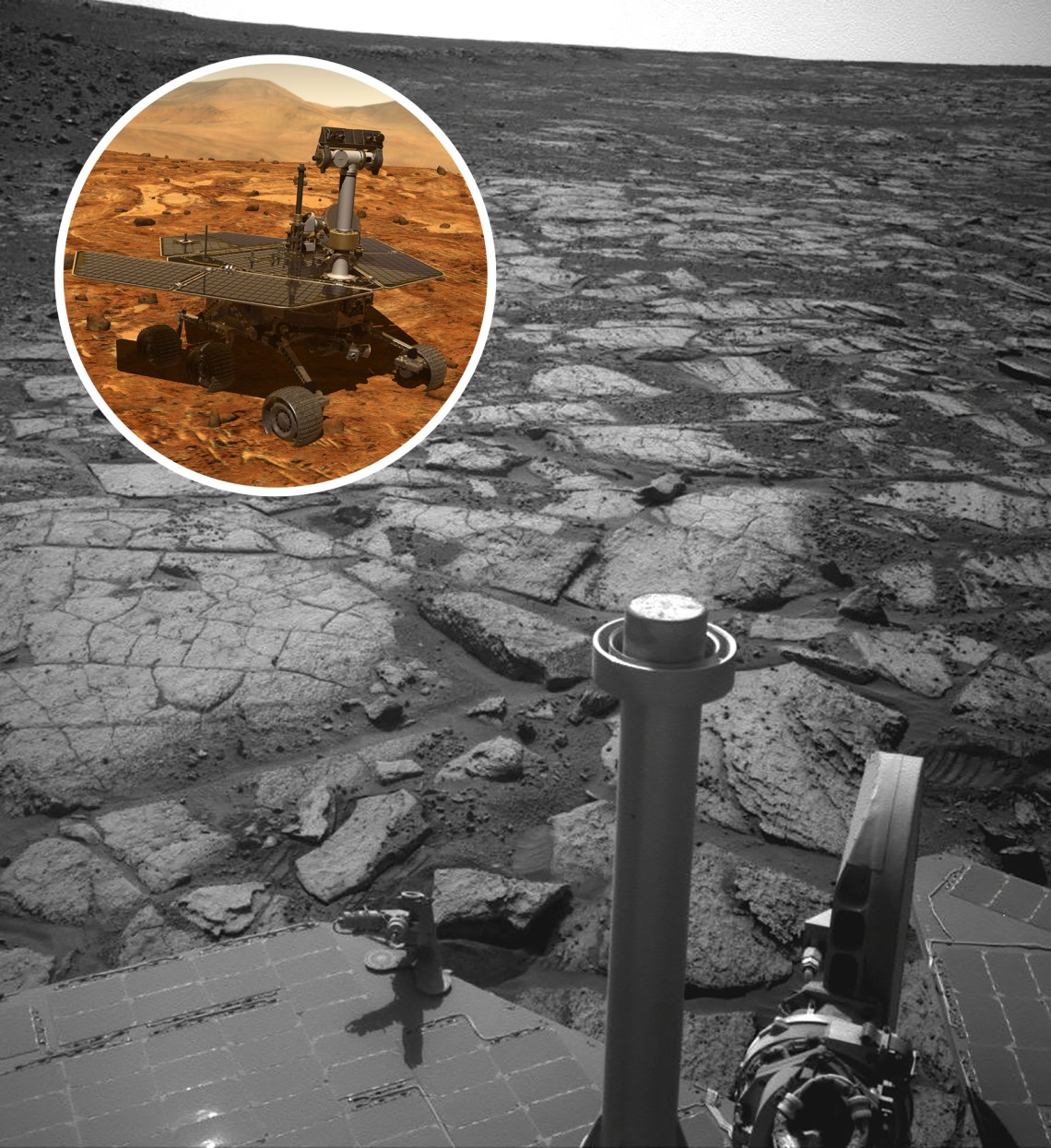 Opportunity's Nav Camera took this photo on Sol 3391 (NASA/JPL-Caltech), with inset rendering of Opportunity (NASA/JPL-Caltech)