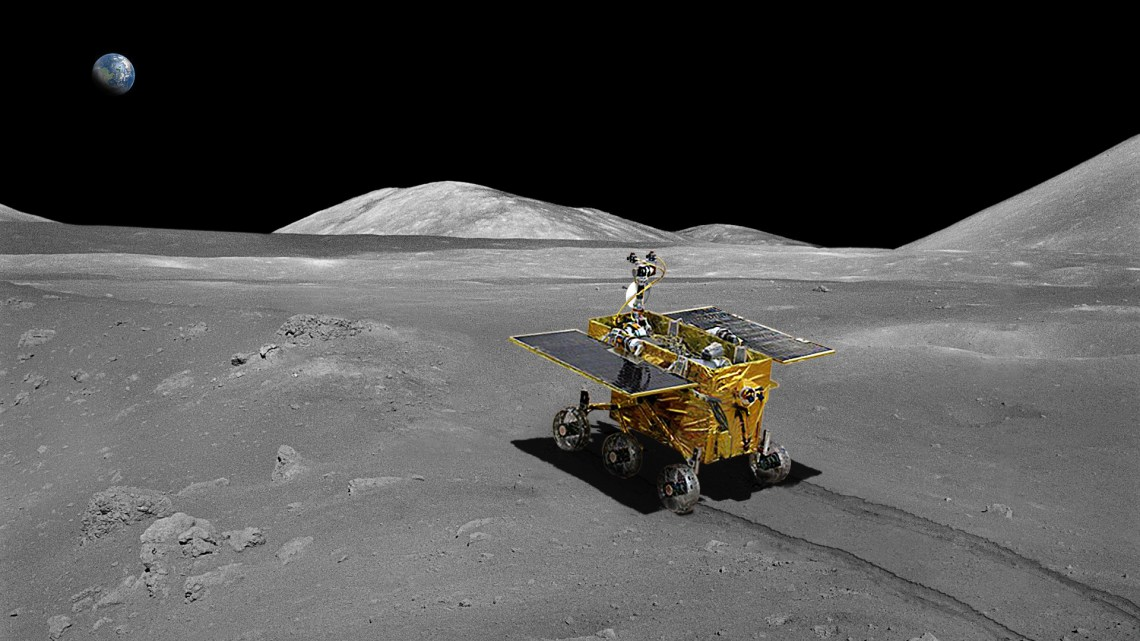 Together with the lander base, China's 'Yutu' rover was deposited on the lunar surface during the Chang'e-3 mission. Image: CNSA